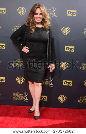 LOS ANGELES - APR 26:  Catherine Bach at the 2015 Daytime Emmy Awards at the Warner Brothers Studio Lot on April 26, 2015 in Burbank, CA - stock photo