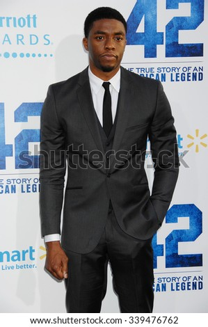 LOS ANGELES - APR 9 - Chadwick Boseman  arrives at the 42 Los Angeles Premiere on April 9,  2013 in Los Angeles, CA              - stock photo