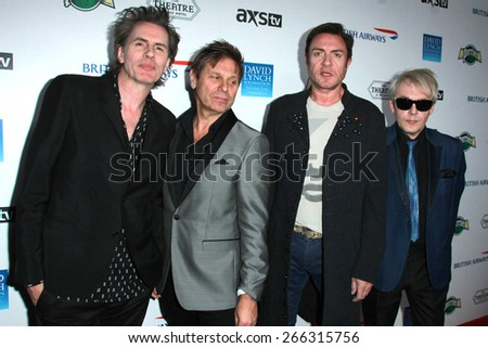 LOS ANGELES - APR 1:  Duran Duran, John Taylor, Simon Le Bon, Roger Taylor, Nick Rhodes at the The Music Of David Lynch at the Ace Hotel on April 1, 2015 in Los Angeles, CA - stock photo