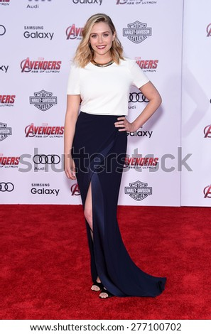 """LOS ANGELES - APR 14:  Elizabeth Olsen arrives to the Marvel's """"Avengers: Age of Ultron"""" World Premiere  on April 14, 2015 in Hollywood, CA                 - stock photo"""