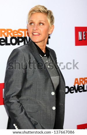 """LOS ANGELES - APR 29:  Ellen DeGeneres arrives at the """"Arrested Development"""" Los Angeles Premiere at the Chinese Theater on April 29, 2013 in Los Angeles, CA - stock photo"""