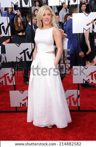 LOS ANGELES - APR 13:  Ellie Goulding arrives to the 2014 MTV Movie Awards  on April 13, 2014 in Los Angeles, CA.                 - stock photo