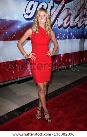 """LOS ANGELES - APR 24:  Heidi Klum arrives at the """"America's Got Talent"""" Los Angeles Auditions at the Pantages Theater on April 24, 2013 in Los Angeles, CA - stock photo"""