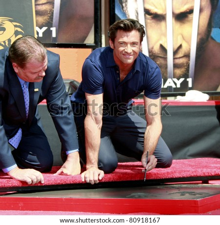 LOS ANGELES - APR 21: Hugh Jackman at the ceremony for Hugh Jackman who is honored with a hand and footprint ceremony in  Los Angeles, California on April 21, 2009