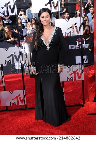 "LOS ANGELES - APR 13:  Jenni ""JWoww"" Farley arrives to the 2014 MTV Movie Awards  on April 13, 2014 in Los Angeles, CA."