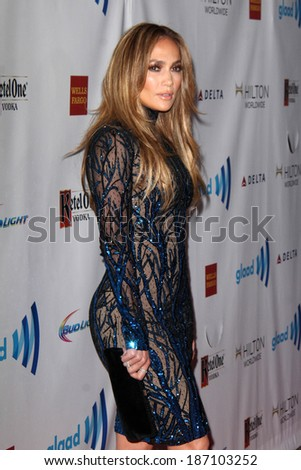 LOS ANGELES - APR 12:  Jennifer Lopez at the GLAAD Media Awards at Beverly Hilton Hotel on April 12, 2014 in Beverly Hills, CA - stock photo