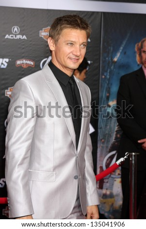 "LOS ANGELES - APR 11:  Jeremy Renner arrives at ""The Avengers"" Premiere at El Capitan Theater on April 11, 2012 in Los Angeles, CA"