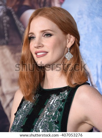 "LOS ANGELES - APR 11:  Jessica Chastain arrives to the ""The Huntsman: Winter's War"" LA Premiere  on April 11, 2016 in Los Angeles, CA.                 - stock photo"
