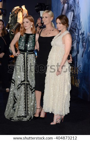 LOS ANGELES - APR 11:  Jessica Chastain, Charlize Theron, Emily Blunt at the The Huntsman Winter's War American Premiere at the Village Theater on April 11, 2016 in Westwood, CA - stock photo