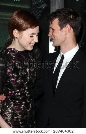 "LOS ANGELES - APR 3:  Karen Gillan, Matt Smith at the ""Oculus"" Los Angeles Screening at the TCL Chinese 6 Theaters on April 3, 2014 in Los Angeles, CA - stock photo"