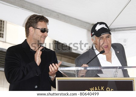 LOS ANGELES - APR 12: Russell Crowe and Jay Leno at a ceremony where Russell Crowe is honored with the 2404th star on the Hollywood Walk  of Fame, Los Angeles, California on April 12, 2010 - stock photo