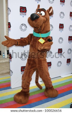 "LOS ANGELES - APR 12:  Scooby-Doo arrives at Warner Brothers ""Television: Out of the Box"" Exhibit Launch at Paley Center for Media on April 12, 2012 in Beverly Hills, CA - stock photo"