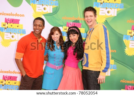 LOS ANGELES - APR 2:  Tara Perry, Thomas Hobson, Yvette Gonzalez-Nacer, Jon Beavers. arriving at the 2011 Kids Choice Awards at Galen Center, USC on April 2, 2011 in Los Angeles, CA