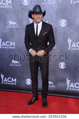 LOS ANGELES - APR 06:  Tim McGraw arrives to the 49th Annual Academy of Country Music Awards   on April 06, 2014 in Las Vegas, NV.                 - stock photo