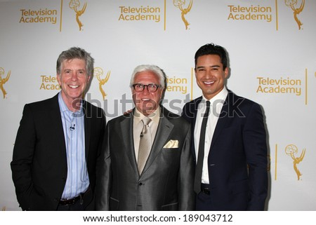 "LOS ANGELES - APR 9:  Tom Bergeron, Vin Di Bonoa, Mario Lopez at the An Evening with ""America's Funniest Home Videos"" at Academy of Television Arts and Sciences on April 9, 2014 in North Hollywood, CA - stock photo"