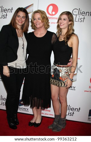 "LOS ANGELES - APRIL 4: Clementine Ford, Cybill Shepherd, Ariel Oppenheim arriving at the ""The Client List"" Launch Party at Sunset Tower Hotel on April 4, 2012 in West Hollywood, CA"