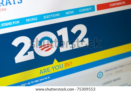LOS ANGELES - APRIL 7: Democratic party homepage launching Obama's 2012 presidential campaign. He's looking to be re-elected. The website asks: Are you in? On April 7, 2011 in Los Angeles California. - stock photo