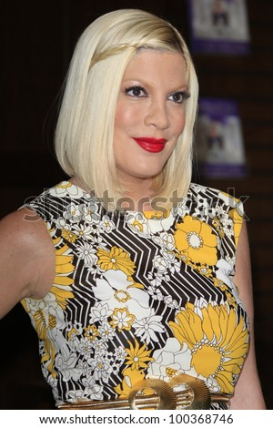 LOS ANGELES - APRIL 17: Tori Spelling at a signing for her book 'celebraTORI' at Barnes & Noble at The Grove on April 17, 2012 in Los Angeles, California - stock photo