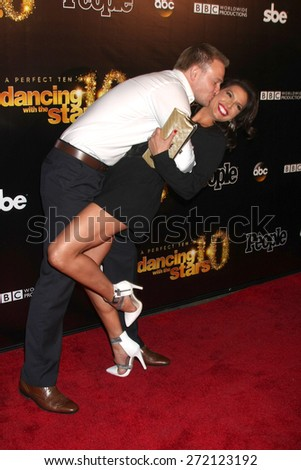 "LOS ANGELES - April 21:  Tye Strickland, Melissa Rycroft at the ""Dancing With the Stars"" 10 Year Anniversary Party at the Greystone Manor on April 21, 2015 in West Hollywood, CA - stock photo"