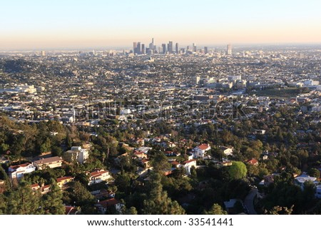 Los Angeles at sunset in winter, USA - stock photo