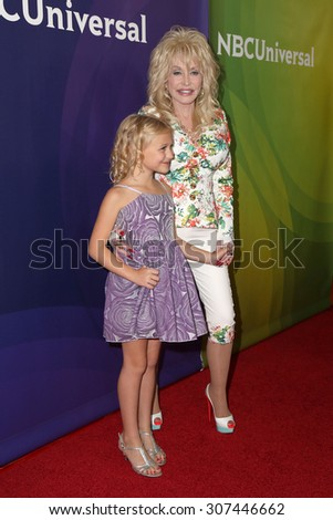 LOS ANGELES - AUG 13:  Alyvia Alyn Lind, Dolly Parton at the NBCUniversal 2015 TCA Summer Press Tour at the Beverly Hilton Hotel on August 13, 2015 in Beverly Hills, CA - stock photo