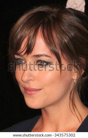 LOS ANGELES - AUG 13:  Dakota Johnson at the HFPA Hosts Annual Grants Banquet - Arrivals at the Beverly Wilshire Hotel on August 13, 2015 in Beverly Hills, CA - stock photo