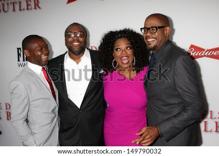 "LOS ANGELES - AUG 12:  David Oyelowo, Lee Daniels, Oprah Winfrey, Forest Whitaker at the ""Lee Daniels' The Butler"" LA Premiere at the Regal 14 Theaters on August 12, 2013 in Los Angeles, CA"
