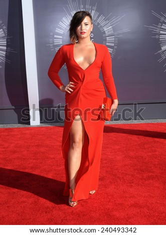 LOS ANGELES - AUG 24:  Demi Lovato arrives to the 2014 Mtv Vidoe Music Awards on August 24, 2014 in Los Angeles, CA                 - stock photo