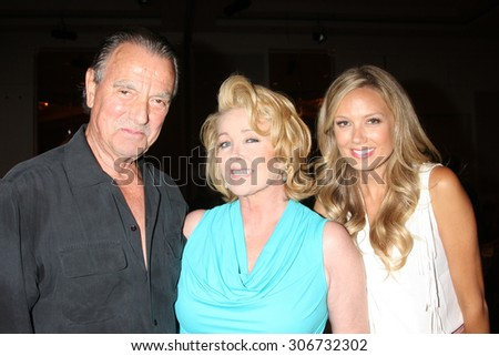 "LOS ANGELES - AUG 15:  Eric Braeden, Melody Thomas Scott, Melissa Ordway at the ""The Young and The Restless"" Fan Club Event at the Universal Sheraton Hotel on August 15, 2015 in Universal City, CA"