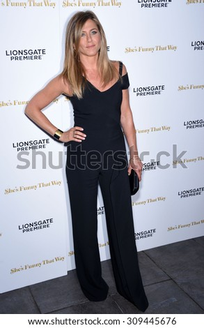 "LOS ANGELES - AUG 19:  Jennifer Aniston arrives to the ""She's Funny That Way"" Los Angeles Premiere  on August 19, 2015 in Hollywood, CA                 - stock photo"