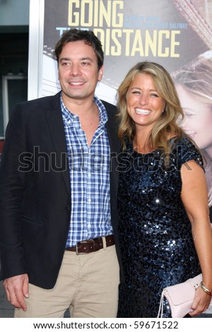"""LOS ANGELES - AUG 23:  Jimmy Fallon & Wife Nancy Juvonen arrives at the """"Going the Distance"""" Los Angeles Premiere at Grauman's Chinese Theater on August 23, 2010 in Los Angeles, CA - stock photo"""