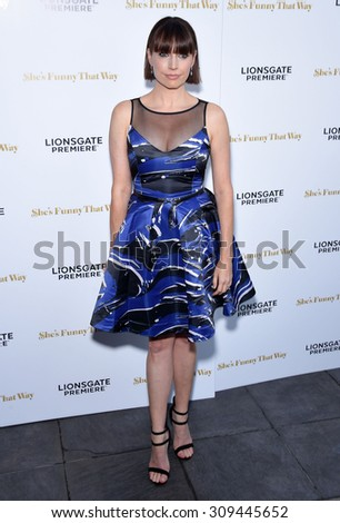 "LOS ANGELES - AUG 19:  Julie Ann Emery arrives to the ""She's Funny That Way"" Los Angeles Premiere  on August 19, 2015 in Hollywood, CA                 - stock photo"
