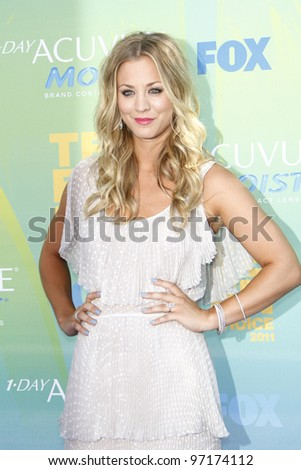 LOS ANGELES - AUG 7: Kaley Cuoco arrives at the 2011 Teen Choice Awards held at Gibson Amphitheatre on August 7, 2011 in Los Angeles, California - stock photo