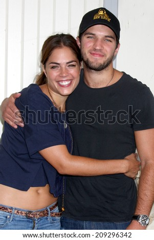 "LOS ANGELES - AUG 2:  Kelly Thiebaud, Bryan Craig at the ""General Hospital"" Fan Club Luncheon 2014 at the Sportsman's Lodge on August 2, 2014 in Studio City, CA - stock photo"