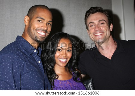 LOS ANGELES - AUG 24:  Lamon Archey, Mishael Morgan, Daniel Goddard at the Young & Restless Fan Club Dinner at the Universal Sheraton Hotel on August 24, 2013 in Los Angeles, CA