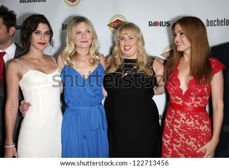 "LOS ANGELES - AUG 23:  Lizzy Caplan, Kirsten Dunst, Rebel Wilson & Isla Fisher ""Bachelorette"" Los Angeles Premiere  on August 23, 2012 in Hollywood, CA - stock photo"