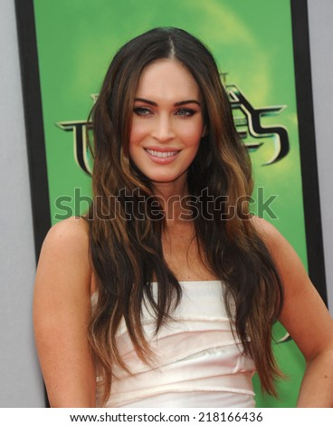 "LOS ANGELES - AUG 03:  Megan Fox arrives to the ""Teenage Mutant Ninja Turtles"" Los Angeles Premiere  on August 3, 2014 in Westwood, CA.                 - stock photo"