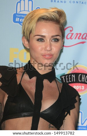 LOS ANGELES - AUG 11: Miley Cyrus in the press room at the 2013 Teen Choice Awards at Gibson Amphitheatre on August 11, 2013 in Los Angeles, California - stock photo