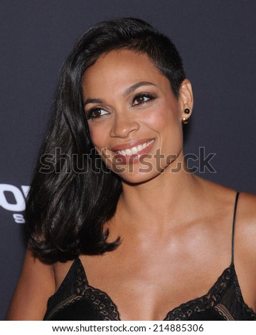 """LOS ANGELES - AUG 19:  Rosario Dawson arrives to the """"Sin City: A Dame To Kill For"""" Los Angeles Premiere  on August 19, 2014 in Hollywood, CA                 - stock photo"""