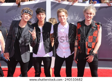LOS ANGELES - AUG 24:  5 Seconds of Summer arrives to the 2014 Mtv Vidoe Music Awards on August 24, 2014 in Los Angeles, CA                 - stock photo