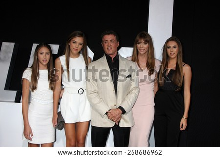 "LOS ANGELES - AUG 11:  Sylvester Stallone, Jennifer Flavin, family at the ""Expendables 3"" Premiere at TCL Chinese Theater on August 11, 2014 in Los Angeles, CA