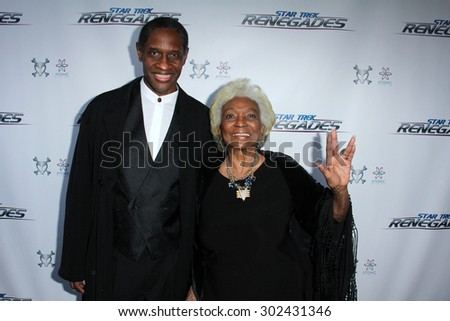 """LOS ANGELES - AUG 1:  Tim Russ, Nichelle Nichols at the """"Star Trek: Renegades"""" Premiere at the Crest Theater on August 1, 2015 in Westwood, CA - stock photo"""