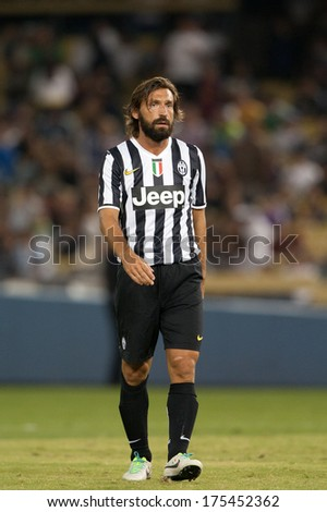 LOS ANGELES - AUGUST 3: Juventus M Andrea Pirlo during the 2013 Guinness International Champions Cup game between Juventus and the Los Angeles Galaxy on Aug 3, 2013 at Dodger Stadium. - stock photo