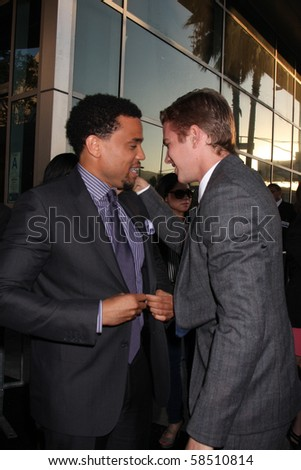 """LOS ANGELES - AUGUST 4:  Michael Ealy & Hayden Christensen. arrives at the """"Takers"""" World Premiere at ArcLight Cinerama Dome Theater on August 4, 2010 in Los Angeles, CA - stock photo"""