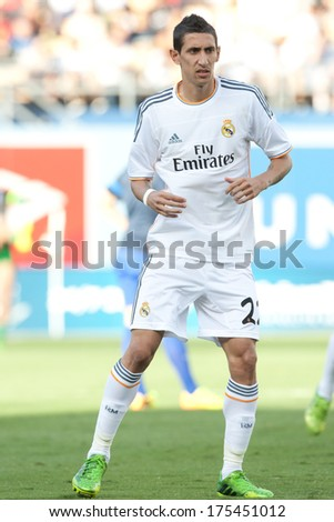 LOS ANGELES - AUGUST 3: Real Madrid F Angel Di Maria during the 2013 Guinness International Champions Cup game between Everton and Real Madrid on Aug 3, 2013 at Dodger Stadium. - stock photo