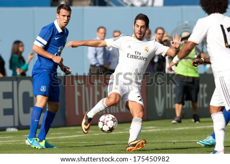 LOS ANGELES - AUGUST 3: Real Madrid M Isco during the 2013 Guinness International Champions Cup game between Everton and Real Madrid on Aug 3, 2013 at Dodger Stadium. - stock photo