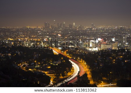 Los Angeles Bowl Overlook From Mulholland Drive at night - stock photo
