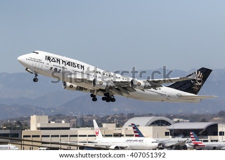 Los Angeles, CA - Apr 17, 2016: Iron Maiden One takes off from LAX Airport in Los Angeles, CA. after their North American tour and head to the Far East on their Book Of Souls World Tour. - stock photo