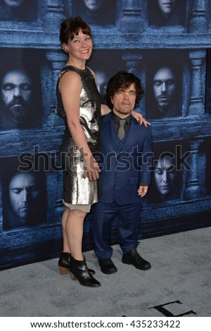 LOS ANGELES, CA. April 10, 2016: Actor Peter Dinklage & wife actress Erica Schmidt at the season 6 premiere of Game of Thrones at the TCL Chinese Theatre, Hollywood.