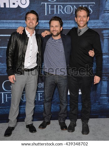 LOS ANGELES, CA. April 10, 2016: Actors Charlie Day, Rob McElhenney & Glenn Howerton at the season 6 premiere of Game of Thrones at the TCL Chinese Theatre, Hollywood.